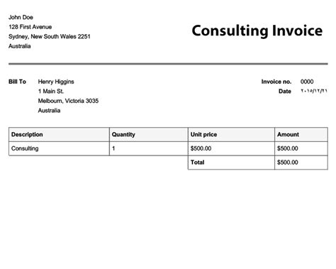 sle invoice for consulting services free invoice templates online invoices