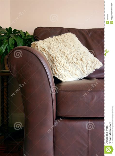 Brown Leather Sofa With Cushion Stock Photo Image 604430 Cushions For Brown Leather Sofa