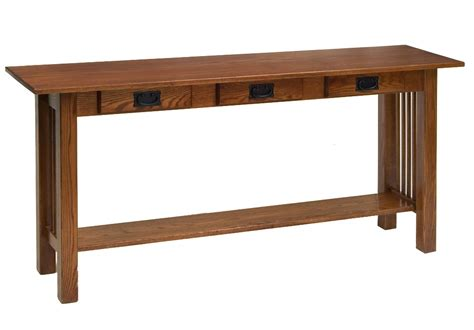 amish sofa table amish mission sofa table w 3 drawers