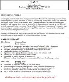 store manager cv template retail manager cv exle forums learnist org