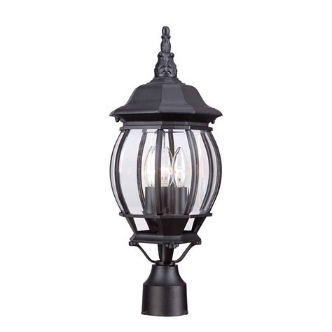 hton bay 3 light outdoor black post lantern the home