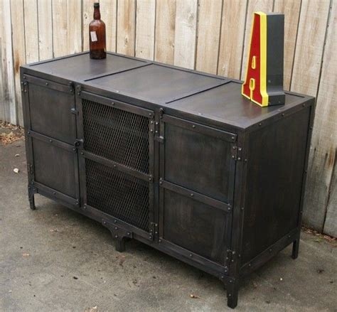 Handmade Industrial Furniture - handmade industrial metal media cabinet tv console tv by