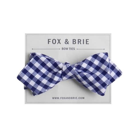azure gingham pointed bow tie