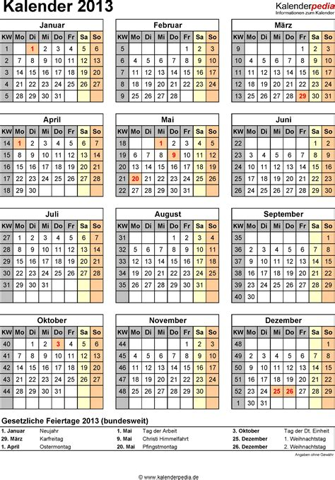 Kw Kalender 2017 Kalender 2013 Mit Excel Pdf Word Vorlagen Feiertagen