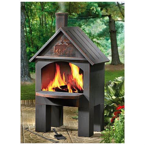 chiminea with cooking grill castlecreek cabin cooking steel chiminea 281492