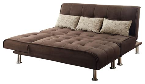 Large Futon Brown Microfiber 2 Pc Sectional Sofa Futon Chaise
