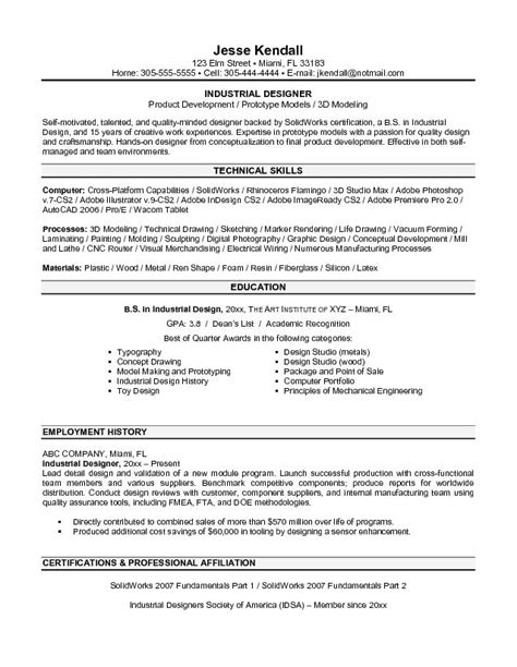 industrial design resume exle industrial designer resume sle
