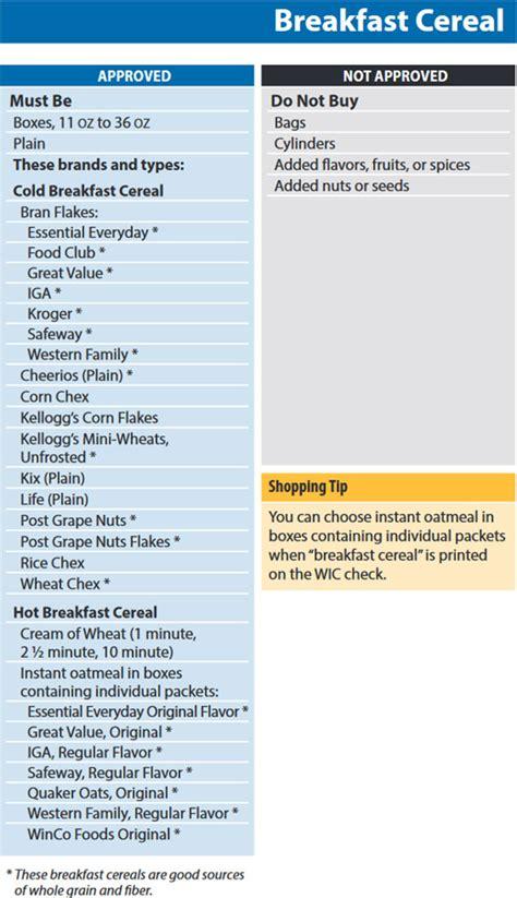 st s day food list washington wic food list