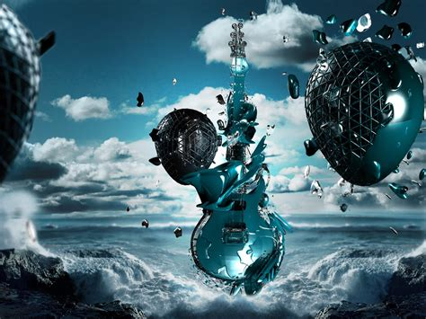wallpaper hd desktop 3d blue photo with a guitar in the sky and a sea with huge waves