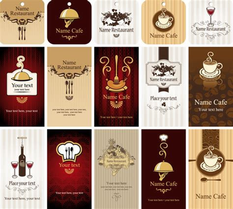 Gift Card Cafe - set of restaurant cafe cards vectot 02 vector card free download