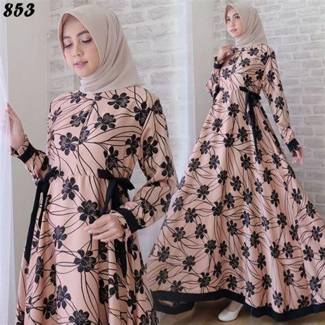 Gamis Bunga Besar Premium Black Pasmina gamis cantik maxmara bunga c853 baju muslim modern