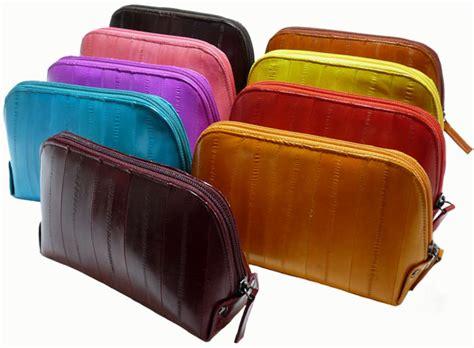 luxury genuine eel skin leather cosmetic makeup bag wallet pouch teal ebay