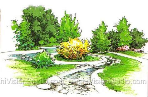 Landscape Design Rendering Landscaping Rendering Garden Rendering Landscape Design