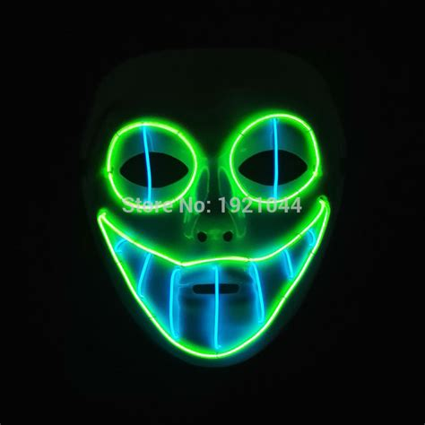 Glowing Kefir Mask 10 Days sound activated el wire horror smile masks mask glowing el wire festival led glowing