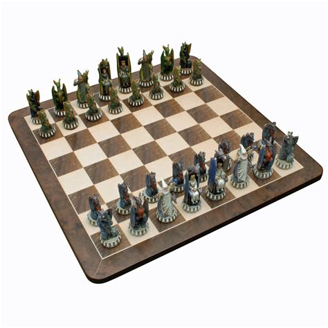 dragon chess set dragon chess set handpainted pieces walnut root board
