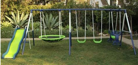 cheap swing and slide set sportspower rosemead metal swing and slide set only 169
