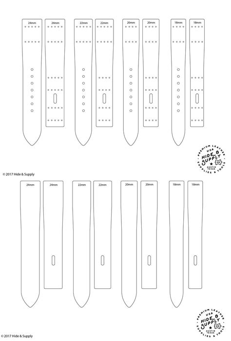 leather watch strap band template pattern guide set 18mm