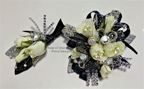 Corsage Black Grey prom homecoming of floral designs