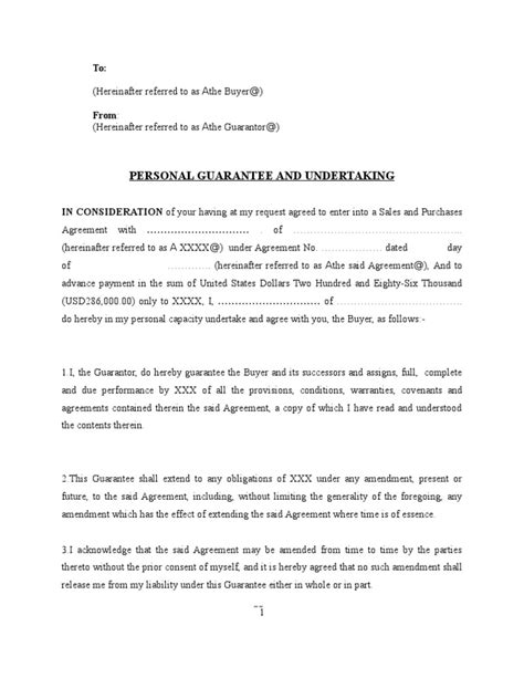 Agreement Letter For Guarantor Personal Loan Guarantor Letter Sle Promissory Note Loan Agreement Details Templatesletter
