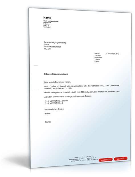 Musterbrief Bearbeitungsgebühr Kredit Nrw Ausschlagung Einer Erbschaft In Deutschland Muster Vorlage Zum