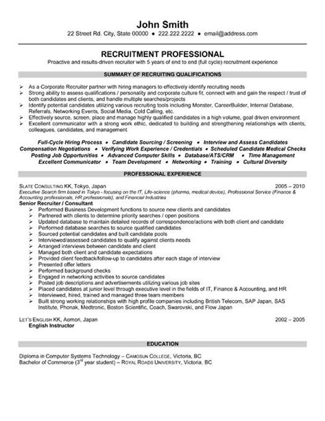 executive recruiter resume hr recruiter resume sles