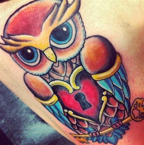 owl tattoo in heart owl tattoo heart and key tattoo g e t i n k e d