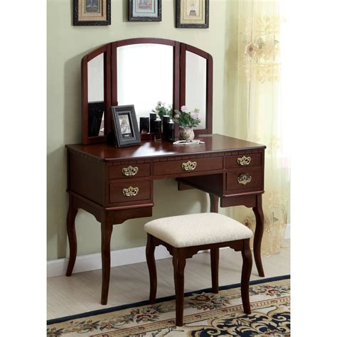 wood bedroom vanity darby home co falconer 3 piece vanity and stool set