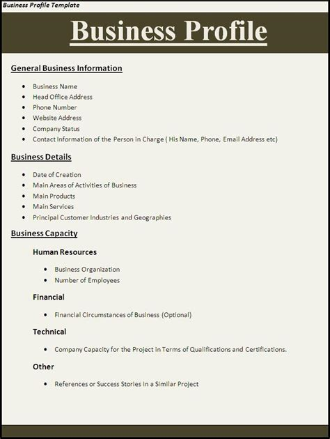 business profile template word templates