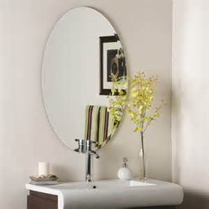 wall bathroom mirror decor wonderland helmer oval bevel frameless wall mirror beyond stores