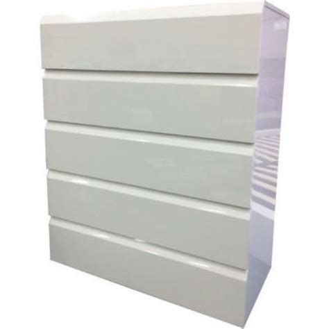 Buy White Chest Of Drawers 5 Draw Handleless Chest Of Drawers In Gloss White Buy