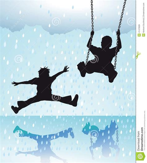 rain swing children playing in the rain stock vector image 41470928