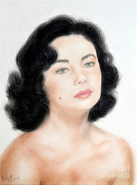 84 Shower Curtain Young Liz Taylor Portrait Remake Mixed Media By Jim