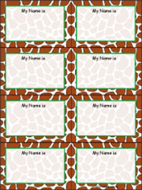 printable zoo animal name tags giraffe skin nametags to print in color
