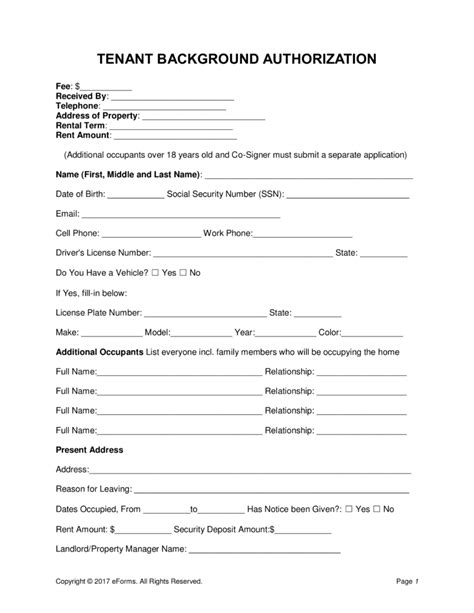Background Check Authorization Form For Tenant Free Tenant Renter Background Check Form Word Pdf