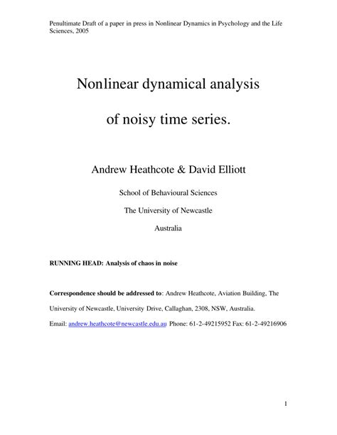 research paper on time series analysis nonlinear dynamical analysis of noisy pdf