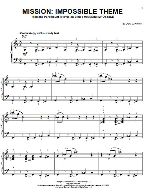 theme music of mission impossible impossible theme sheet music by lalo schifrin easy piano