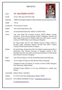 Format Of Marriage Resume Fair Education Mbbs Preparing For Pg Father Sh Satya