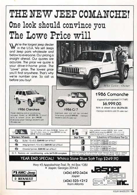jeep cherokee ads 1986 jeep comanche cherokee cj7 original car