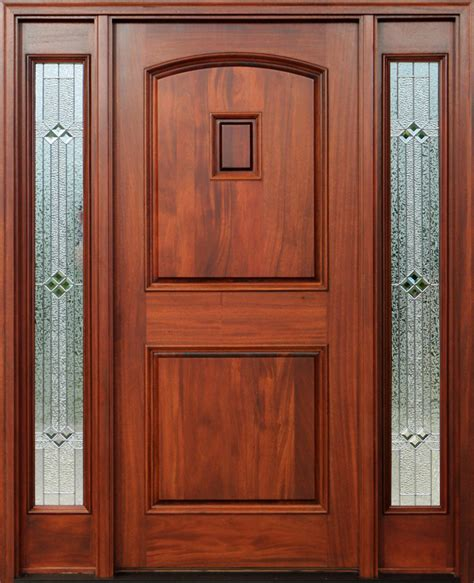 Red Mahogany Doors With Sidelights Pre Finished Exterior Door Finish