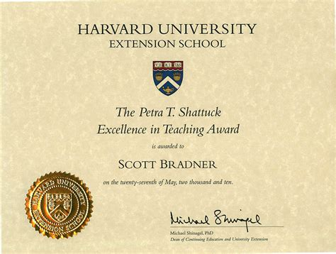 Harvard Extension Mba by 183 The T Shattuck Excellence In Teaching Award From