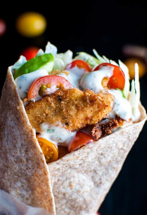 fried chicken wraps with ranch dressing salt