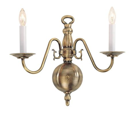 Antique Brass Wall Sconce Livex 2 Light Wall Sconce Lighting Fixture Williamsburg Antique Brass 5002 01 Ebay