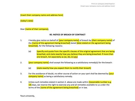 free breach of contract letter template breach of contract notice template uk template