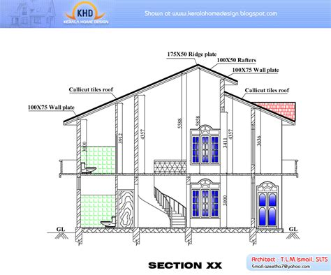 plan elevation and section of residential building april 2011 kerala home design and floor plans