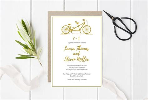 printable wedding invitations gold tandem bike wedding invitation template gold bicycle