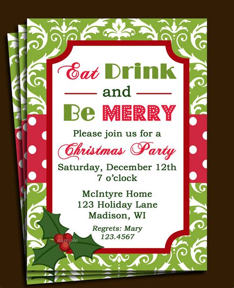printable xmas party invitations christmas party invitation printable or printed with free