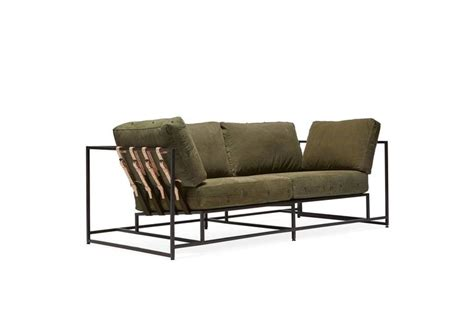 military sofa vintage military canvas and blackened steel two seat sofa