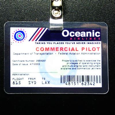 make fan id card oceanic airlines commercial pilot badge lostified