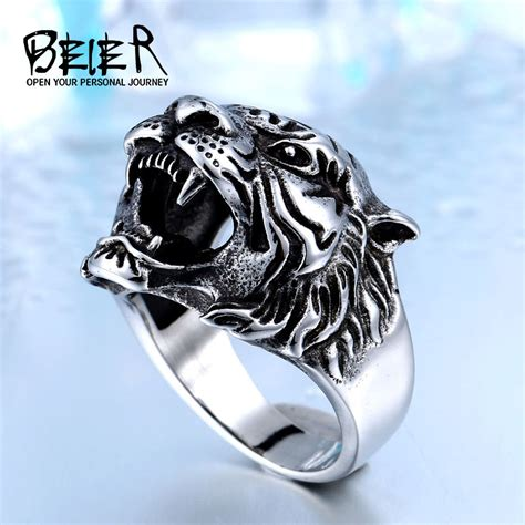 Cincin Beier Stainless Stell Domineering beier 316l stainless steel titanium tiger ring personality unique s animal jewelry