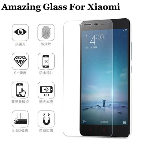 Tempered Glass Redmi Note 3 Layar 9h tempered glass screen protector for xiaomi redmi 2 redmi 3 note 2 note 3 mi4 mi4i mi4c mi5